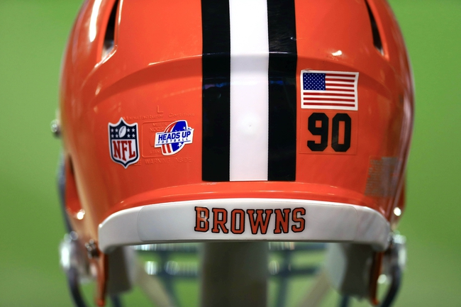 Aug 15, 2013; Cleveland, OH, USA; Heads Up Football logo on the helmet of Cleveland Browns defensive tackle Billy Winn (90) in the third quarter of a preseason game against the Detroit Lions at FirstEnergy Stadium. Mandatory Credit: Andrew Weber-USA TODAY Sports