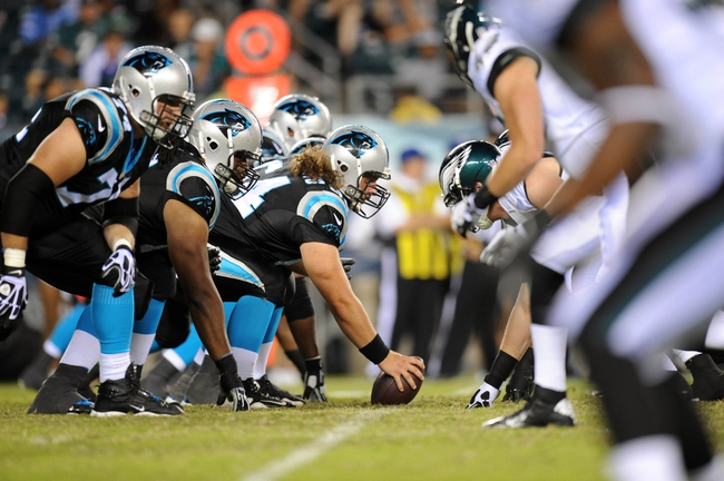 Aug 15, 2013; Philadelphia, PA, USA; The Carolina Panthers offensive line and Philadelphia Eagles defensive line get set for a play during the second half at Lincoln Financial Field. The Eagles won the game 14-9. Mandatory Credit: Joe Camporeale-USA TODAY Sports
