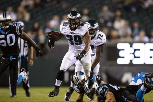 Aug 15, 2013; Philadelphia, PA, USA; Philadelphia Eagles running back Matthew Tucker (39) carries the ball during the fourth quarter against the Carolina Panthers at Lincoln Financial Field. The Eagles defeated the Panthers 14-9. Mandatory Credit: Howard Smith-USA TODAY Sports