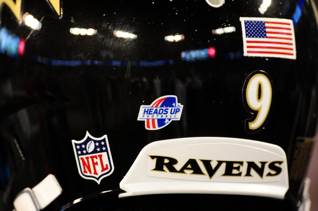 Aug 15, 2013; Baltimore, MD, USA; A view of the Heads Up Football logo on the helmet of  Baltimore Ravens kicker Justin Tucker during the game against the Atlanta Falcons at M&T Bank Stadium. Mandatory Credit: Evan Habeeb-USA TODAY Sports