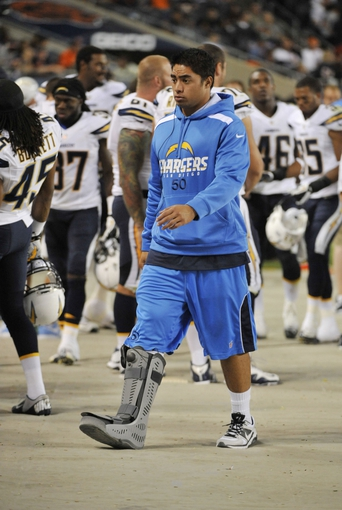 Aug 15, 2013; Chicago, IL, USA; San Diego Chargers inside linebacker Manti Te'o (50) walks on the sidelines in a game against the Chicago Bears during the fourth quarter at Soldier Field. Mandatory Credit: David Banks-USA TODAY Sports