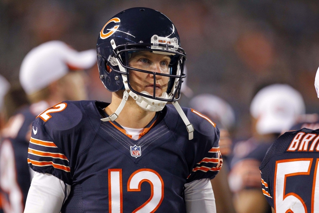 Aug 15, 2013; Chicago, IL, USA; Chicago Bears quarterback Josh McCown (12) during the second half against the San Diego Chargers at Soldier Field. Chicago won 33-28. Mandatory Credit: Dennis Wierzbicki-USA TODAY Sports