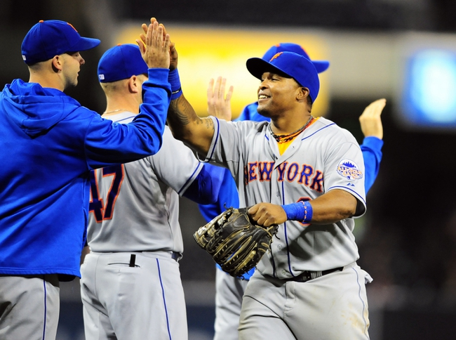 Aug 15, 2013; San Diego, CA, USA; New York Mets right fielder Marlon Byrd (6) celebrates with teammates after a 4-1 win against the San Diego Padres at Petco Park. Mandatory Credit: Christopher Hanewinckel-USA TODAY Sports