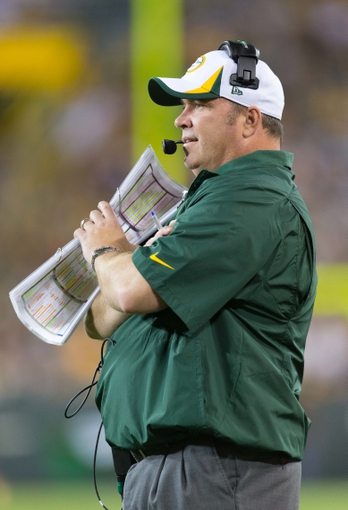 Aug 9, 2013; Green Bay, WI, USA; Green Bay Packers head coach Mike McCarthy during the game against the Arizona Cardinals at Lambeau Field.  The Cardinals won 17-0.  Mandatory Credit: Jeff Hanisch-USA TODAY Sports