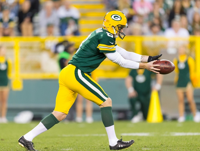 Aug 9, 2013; Green Bay, WI, USA; Green Bay Packers punter Tim Masthay (8) during the game against the Arizona Cardinals at Lambeau Field.  The Cardinals won 17-0.  Mandatory Credit: Jeff Hanisch-USA TODAY Sports