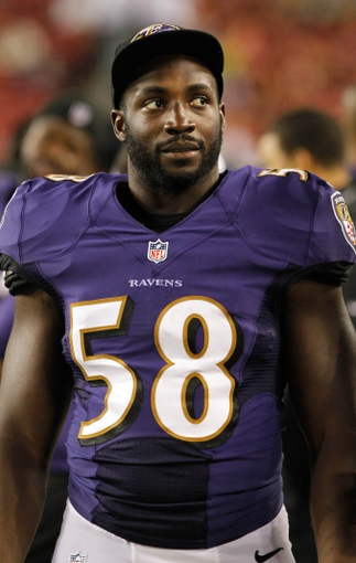 Aug 8, 2013; Tampa, FL, USA; Baltimore Ravens linebacker Elvis Dumervil (58) against the Tampa Bay Buccaneers during the second half at Raymond James Stadium. Mandatory Credit: Kim Klement-USA TODAY Sports