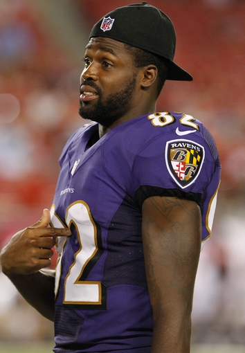 Aug 8, 2013; Tampa, FL, USA; Baltimore Ravens wide receiver Torrey Smith (82) against the Tampa Bay Buccaneers during the second half at Raymond James Stadium. Mandatory Credit: Kim Klement-USA TODAY Sports