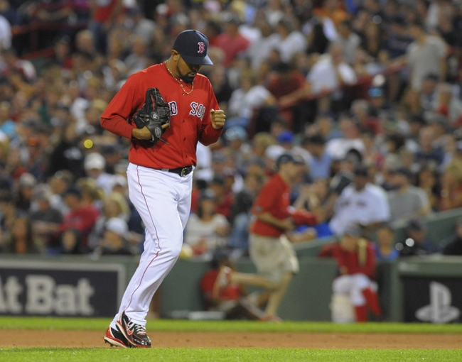 Aug 16, 2013; Boston, MA, USA; Boston Red Sox relief pitcher Franklin Morales (56) comes into the game to pitch the seventh inning against the New York Yankees at Fenway Park. Mandatory Credit: Bob DeChiara-USA TODAY Sports