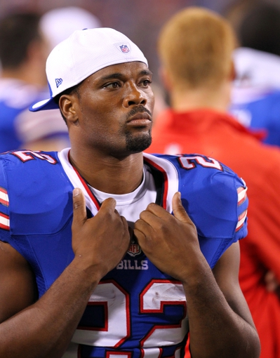 Aug 16, 2013; Orchard Park, NY, USA;  Buffalo Bills running back Fred Jackson (22) on the sidelines during the second half against the Minnesota Vikings at Ralph Wilson Stadium.  Buffalo defeats Minnesota 20 to 16.  Mandatory Credit: Timothy T. Ludwig-USA TODAY Sports