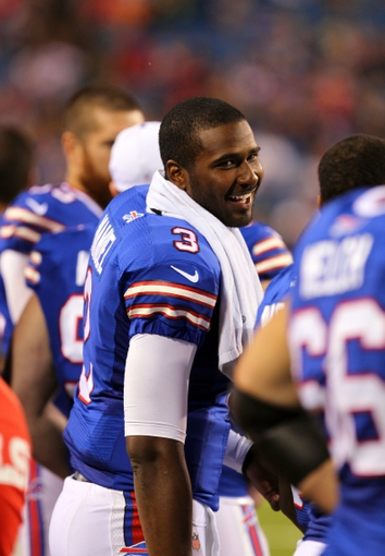 Aug 16, 2013; Orchard Park, NY, USA;  Buffalo Bills quarterback EJ Manuel (3) on the sidelines during the second half against the Minnesota Vikings at Ralph Wilson Stadium.  Buffalo defeats Minnesota 20 to 16.  Mandatory Credit: Timothy T. Ludwig-USA TODAY Sports