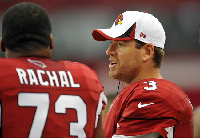 August 17, 2013; Phoenix, AZ, USA; Arizona Cardinals quarterback Carson Palmer (3) watches game action against Dallas Cowboys during the second half at University of Phoenix Stadium. Mandatory Credit: Gary A. Vasquez-USA TODAY Sports