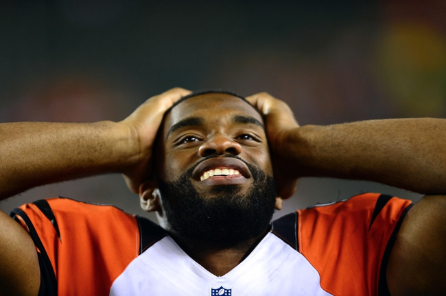 Aug 17, 2013; Cincinnati, OH, USA; Cincinnati Bengals tight end Jermaine Gresham (84) on the sidelines in the fourth quarter of a preseason game against the Tennessee Titans at Paul Brown Stadium. Mandatory Credit: Andrew Weber-USA TODAY Sports
