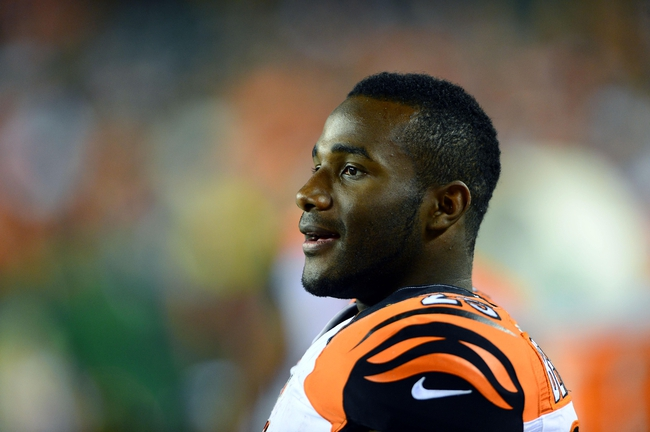 Aug 17, 2013; Cincinnati, OH, USA; Cincinnati Bengals running back Giovani Bernard (25) on the sidelines in the fourth quarter of a preseason game against the Tennessee Titans at Paul Brown Stadium. Mandatory Credit: Andrew Weber-USA TODAY Sports
