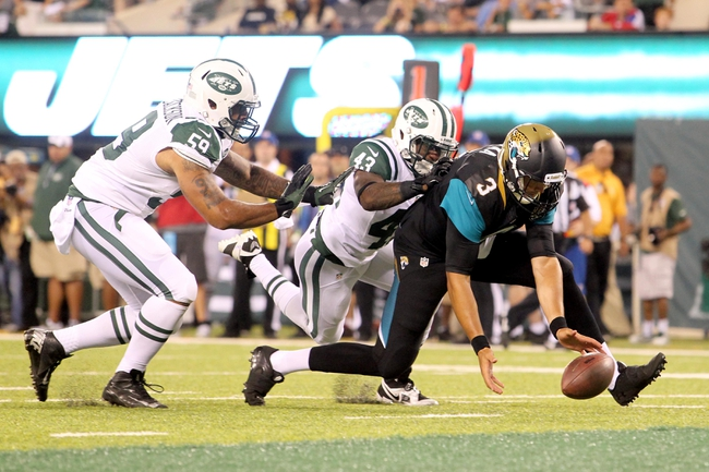 Aug 17, 2013; East Rutherford, NJ, USA; Jacksonville Jaguars quarterback Mike Kafka (3) chases a bad snap with New York Jets linebacker Sean Progar-Jackson (59) and corner back Mike Edwards (43) during the fourth quarter of a preseason game at MetLife Stadium. The Jets defeated the Jaguars 37-13. Mandatory Credit: Brad Penner-USA TODAY Sports