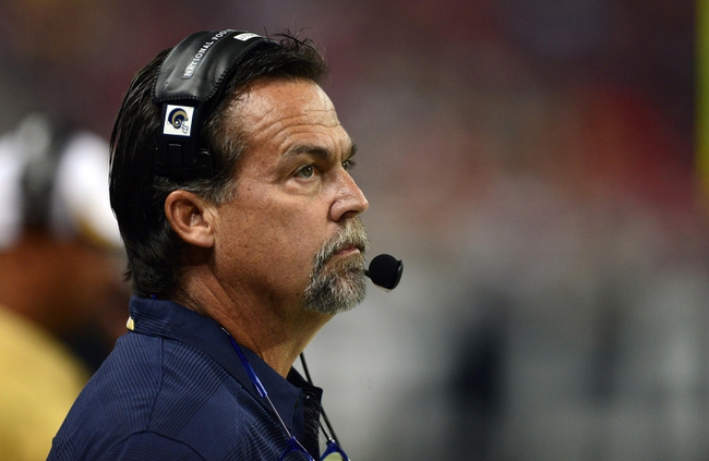Aug 17, 2013; St. Louis, MO, USA; St. Louis Rams head coach Jeff Fisher looks on as his team plays the Green Bay Packers at the Edward Jones Dome. Mandatory Credit: Jeff Curry-USA TODAY Sports