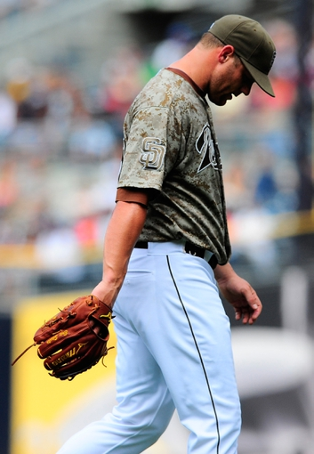 Aug 18, 2013; San Diego, CA, USA; San Diego Padres starting pitcher Eric Stults (53) after being taken out of the game during the seventh inning against the New York Mets at Petco Park. Mandatory Credit: Christopher Hanewinckel-USA TODAY Sports