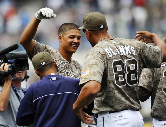 Aug 18, 2013; San Diego, CA, USA; San Diego Padres center fielder Will Venable (25) is congratulated by Kyle Blanks (88) after a 4-3 walk off win against the New York Mets at Petco Park. Mandatory Credit: Christopher Hanewinckel-USA TODAY Sports