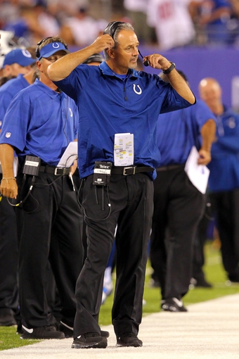 Aug 18, 2013; East Rutherford, NJ, USA; Indianapolis Colts head coach Chuck Pagano reacts during the third quarter of a preseason game against the New York Giants at MetLife Stadium. Mandatory Credit: Brad Penner-USA TODAY Sports