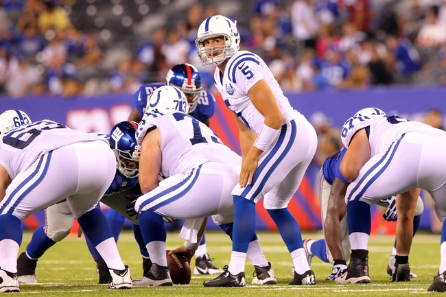 Aug 18, 2013; East Rutherford, NJ, USA; Indianapolis Colts quarterback Chandler Harnish (5) calls a play at the line against the New York Giants during the fourth quarter of a preseason game at MetLife Stadium. The colts defeated the Giants 20-12. Mandatory Credit: Brad Penner-USA TODAY Sports