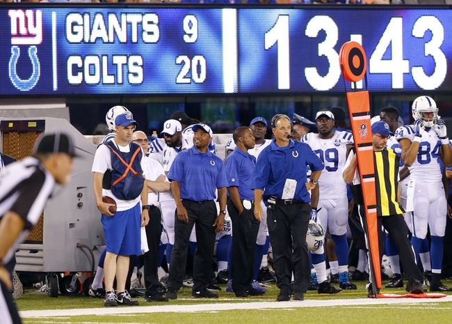 Aug 18, 2013; East Rutherford, NJ, USA; Indianapolis Colts head coach Chuck Pagano during the second half against the New York Giants at MetLife Stadium. Indianapolis Colts defeat the New York Giants 20-12. Mandatory Credit: Jim O'Connor-USA TODAY Sports