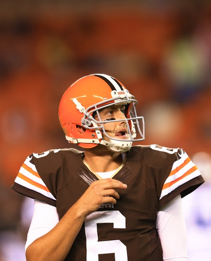 Aug 15, 2013; Cleveland, OH, USA; Cleveland Browns quarterback Brian Hoyer (6) during a preseason game against the Detroit Lions at FirstEnergy Stadium. Mandatory Credit: Andrew Weber-USA TODAY Sports