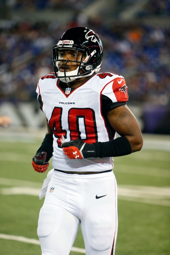 Aug 15, 2013; Baltimore, MD, USA; Atlanta Falcons safety Troy Sanders (40) during the game against the Baltimore Ravens at M&T Bank Stadium. Mandatory Credit: Mitch Stringer-USA TODAY Sports