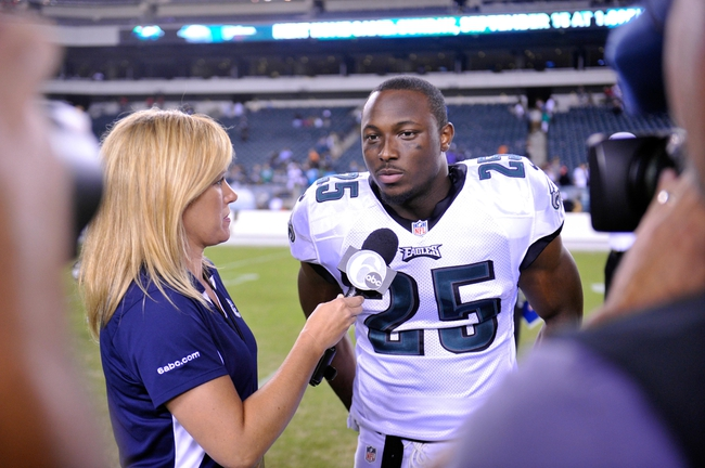 Aug 15, 2013; Philadelphia, PA, USA; Philadelphia Eagles running back LeSean McCoy (25) is interviewed after the second half of a preseason game against the Carolina Panthers at Lincoln Financial Field. The Eagles won the game 14-9. Mandatory Credit: Joe Camporeale-USA TODAY Sports