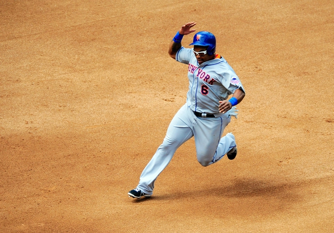 Aug 18, 2013; San Diego, CA, USA; New York Mets right fielder Marlon Byrd (6) runs to third base during the fourth inning against the San Diego Padres at Petco Park. Mandatory Credit: Christopher Hanewinckel-USA TODAY Sports