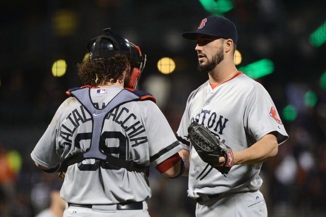 August 19, 2013; San Francisco, CA, USA; Boston Red Sox relief pitcher Brandon Workman (67, right) celebrates with catcher Jarrod Saltalamacchia (39, left) after the game  at AT&T Park. The Red Sox defeated the Giants 7-0. Mandatory Credit: Kyle Terada-USA TODAY Sports