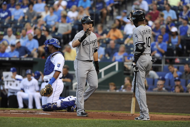 Aug 20, 2013; Kansas City, MO, USA; Chicago White Sox second baseman Gordon Beckham (15) is congratulated by shortstop Alexei Ramirez (10) after hitting a home run in the first inning against the Kansas City Royals at Kauffman Stadium. Mandatory Credit: John Rieger-USA TODAY Sports