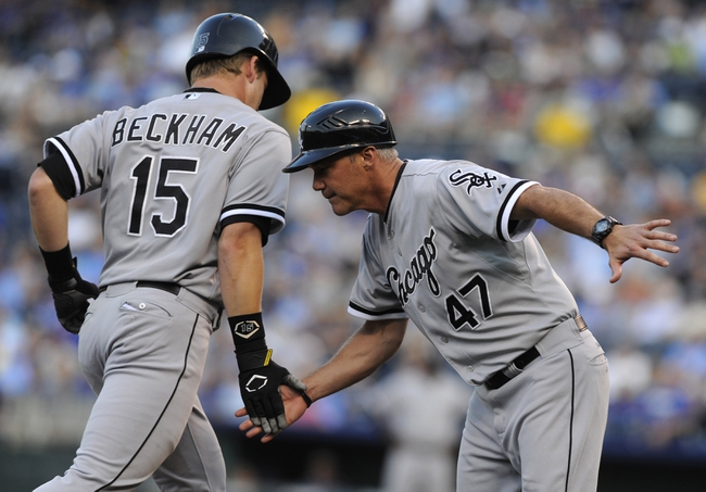 Aug 20, 2013; Kansas City, MO, USA; Chicago White Sox second baseman Gordon Beckham (15) is congratulated by third base coach Joe McEwing (47) after hitting a home run in the first inning against the Kansas City Royals at Kauffman Stadium. Mandatory Credit: John Rieger-USA TODAY Sports