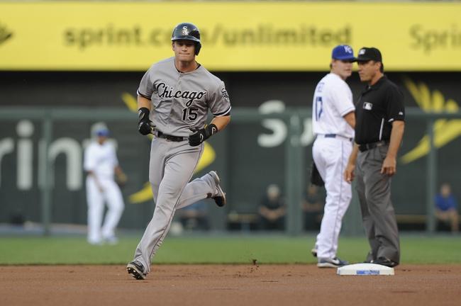 Aug 20, 2013; Kansas City, MO, USA; Chicago White Sox second baseman Gordon Beckham (15) runs the bases after hitting a home run in the first inning against the Kansas City Royals at Kauffman Stadium. Mandatory Credit: John Rieger-USA TODAY Sports