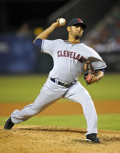 August 20, 2013; Anaheim, CA, USA; Cleveland Indians starting pitcher Danny Salazar (31) pitches during the fifth inning against the Los Angeles Angels at Angel Stadium of Anaheim. Mandatory Credit: Gary A. Vasquez-USA TODAY Sports
