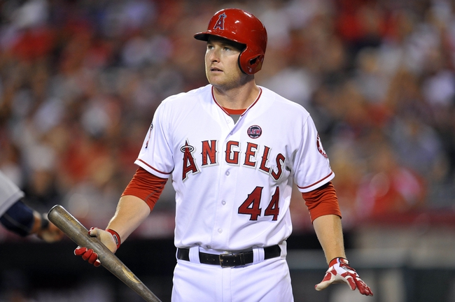 August 20, 2013; Anaheim, CA, USA; Los Angeles Angels first baseman Mark Trumbo (44) reacts after striking out in the sixth inning against the Cleveland Indians at Angel Stadium of Anaheim. Mandatory Credit: Gary A. Vasquez-USA TODAY Sports