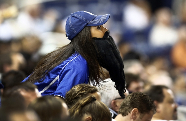 Aug 21, 2013; Miami, FL, USA;  Los Angeles Dodgers fan wears the Brian Wilson beard during a game against the Miami Marlins at Marlins Park. The Dodgers won 4-1. Mandatory Credit: Robert Mayer-USA TODAY Sports