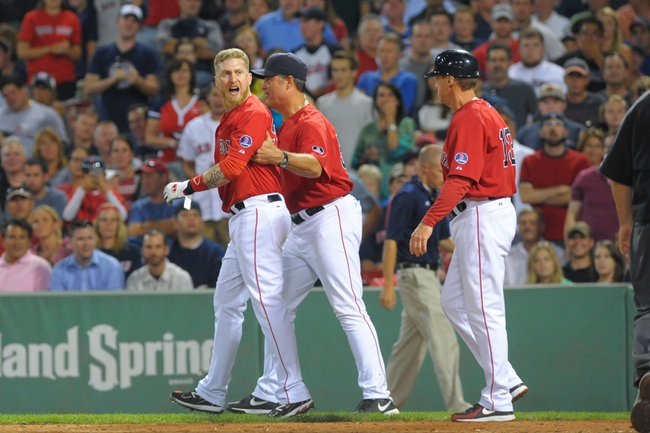 Aug 16, 2013; Boston, MA, USA; Boston Red Sox pinch hitter Mike Carp (37) gets ejected for arguing a called third strike during the seventh inning against the New York Yankees at Fenway Park. Mandatory Credit: Bob DeChiara-USA TODAY Sports