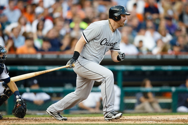 Aug 3, 2013; Detroit, MI, USA; Chicago White Sox first baseman Adam Dunn (32) at bat against the Detroit Tigers at Comerica Park. Mandatory Credit: Rick Osentoski-USA TODAY Sports