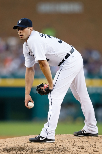 Aug 3, 2013; Detroit, MI, USA; Detroit Tigers starting pitcher Max Scherzer (37) pitches against the Chicago White Sox at Comerica Park. Mandatory Credit: Rick Osentoski-USA TODAY Sports