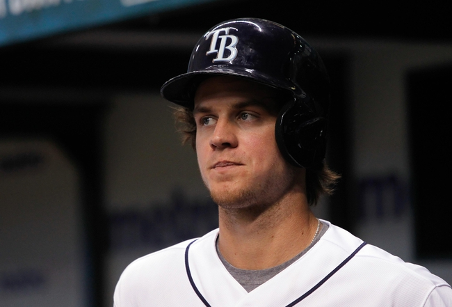 Aug 14, 2013; St. Petersburg, FL, USA; Tampa Bay Rays right fielder Wil Myers (9) on deck to bat against the Seattle Mariners at Tropicana Field. Tampa Bay Rays defeated the Seattle Mariners 5-4. Mandatory Credit: Kim Klement-USA TODAY Sports