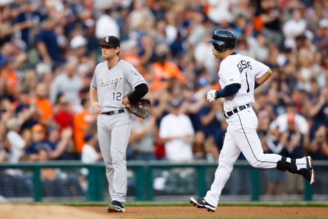 Aug 3, 2013; Detroit, MI, USA; Detroit Tigers third baseman Jose Iglesias (1) runs the bases after he hit a home run off Chicago White Sox starting pitcher John Danks (not pictured) in the fourth inning at Comerica Park. Mandatory Credit: Rick Osentoski-USA TODAY Sports