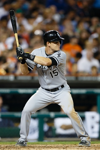 Aug 3, 2013; Detroit, MI, USA; Chicago White Sox second baseman Gordon Beckham (15) at bat against the Detroit Tigers at Comerica Park. Mandatory Credit: Rick Osentoski-USA TODAY Sports