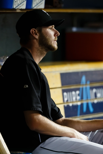 Aug 3, 2013; Detroit, MI, USA; Chicago White Sox starting pitcher Chris Sale (49) sits in dugout against the Detroit Tigers at Comerica Park. Mandatory Credit: Rick Osentoski-USA TODAY Sports