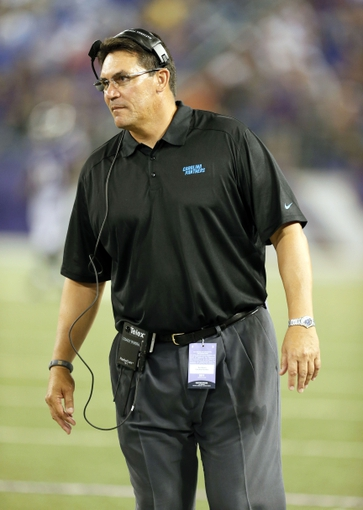 Aug 22, 2013; Baltimore, MD, USA; Carolina Panthers head coach Ron Rivera during the game against the Baltimore Ravens at M&T Bank Stadium. Mandatory Credit: Mitch Stringer-USA TODAY Sports