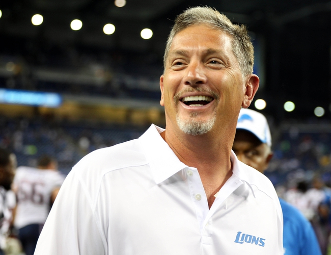 Aug 22, 2013; Detroit, MI, USA; Detroit Lions head coach Jim Schwartz celebrates after win against the New England Patriots at Ford Field. Lions won 40-9.  Mandatory Credit: Mike Carter-USA TODAY Sports