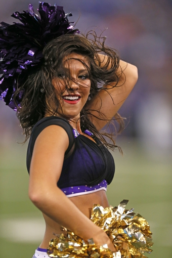 Aug 22, 2013; Baltimore, MD, USA; Baltimore Ravens cheerleaders entertain fans during the game against the Carolina Panthers at M&T Bank Stadium. Mandatory Credit: Mitch Stringer-USA TODAY Sports