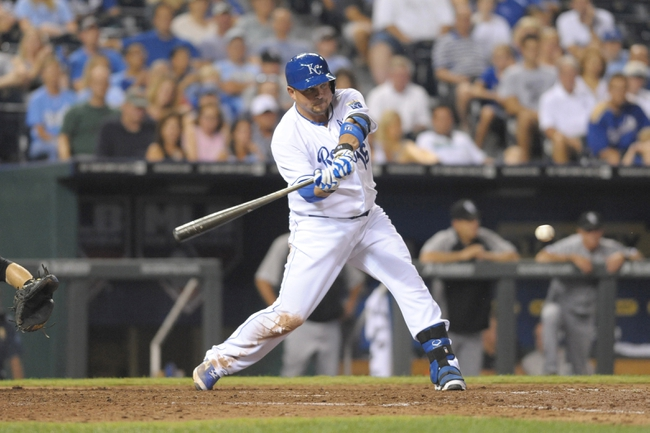 Aug 21, 2013; Kansas City, MO, USA; Kansas City Royals designated hitter Billy Butler (16) at bat in the sixth inning of the game against the Chicago White Sox at Kauffman Stadium. Chicago won 5-2. Mandatory Credit: Denny Medley-USA TODAY Sports