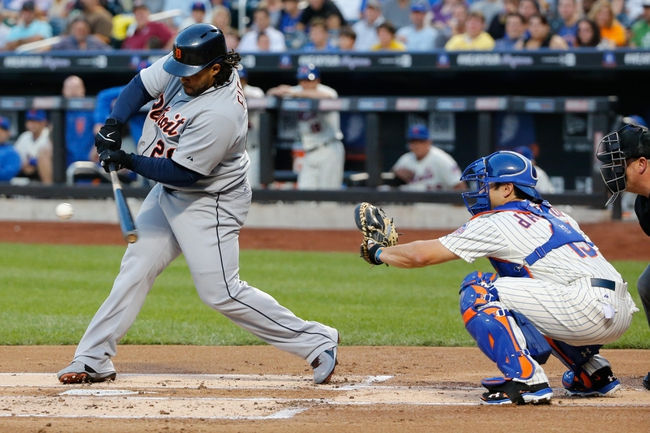 Aug 23, 2013; New York, NY, USA;  Detroit Tigers first baseman Prince Fielder (28) singles to center during the first inning against the New York Mets at Citi Field.  Mandatory Credit: Anthony Gruppuso-USA TODAY Sports