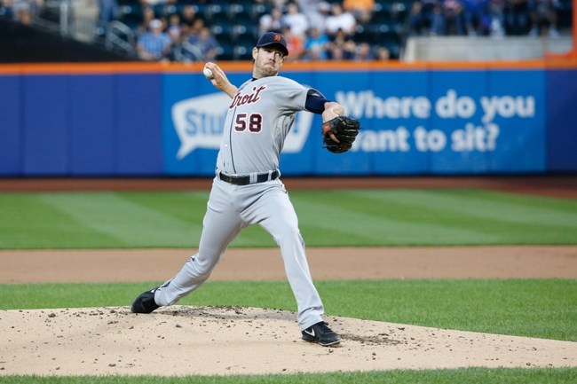 Aug 23, 2013; New York, NY, USA;  Detroit Tigers starting pitcher Doug Fister (58) pitches during the first inning against the New York Mets at Citi Field.  Mandatory Credit: Anthony Gruppuso-USA TODAY Sports