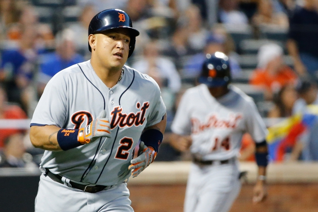Aug 23, 2013; New York, NY, USA; Detroit Tigers third baseman Miguel Cabrera (24) rounds the bases on his three run home run during the second inning against the New York Mets at Citi Field.  Mandatory Credit: Anthony Gruppuso-USA TODAY Sports
