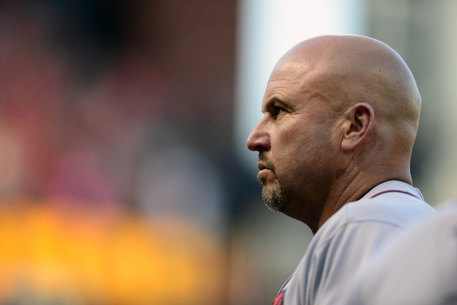 Aug 23, 2013; St. Louis, MO, USA; Atlanta Braves manager Fredi Gonzalez (33) looks on before a game against the St. Louis Cardinals at Busch Stadium. Mandatory Credit: Jeff Curry-USA TODAY Sports